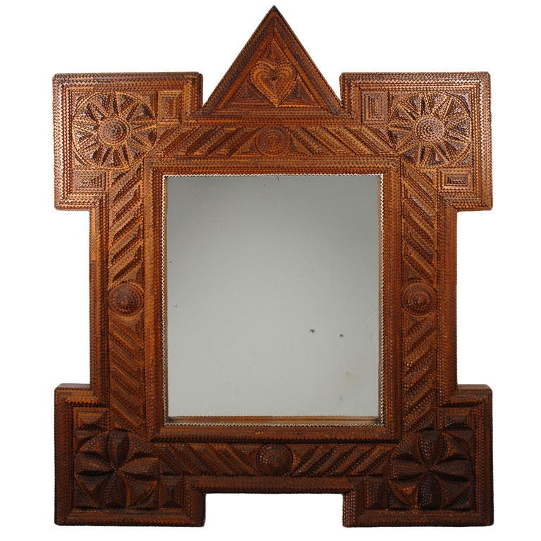 Bold Robust Tramp Art Mirror Frame With Heart Crest At 1stdibs