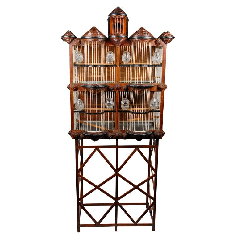 Superb Tramp Art Bird Cage House Shaped on Stand & Published