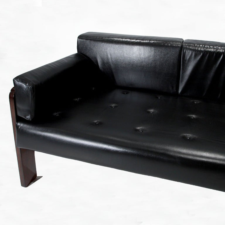 Leather and Rosewood Sofa from Brazil 4