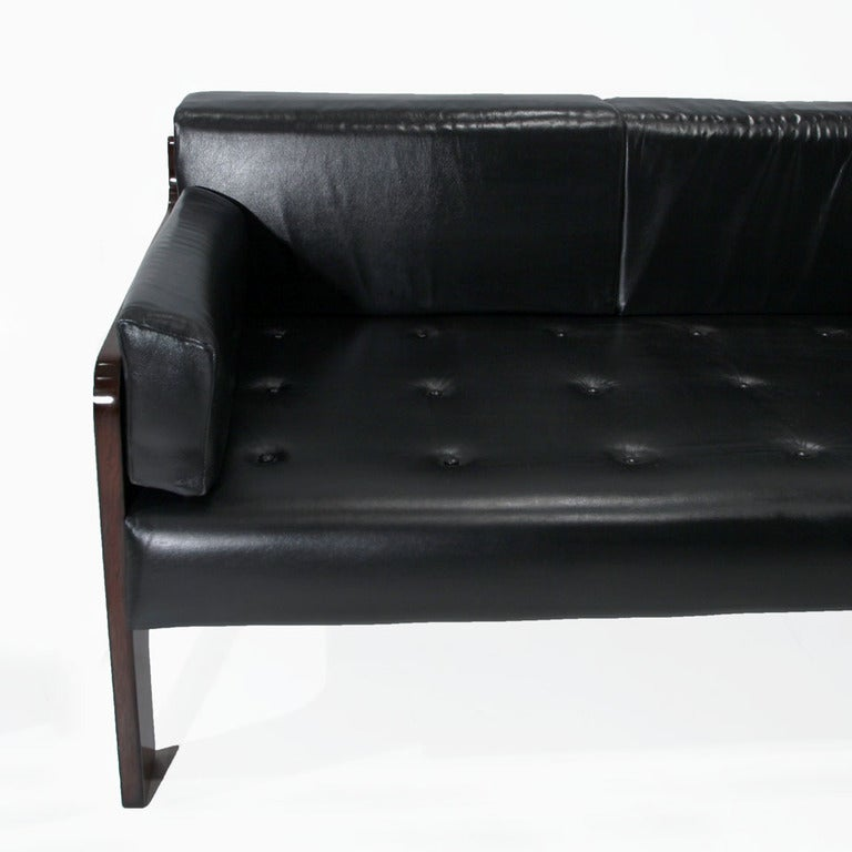 Leather and Rosewood Sofa from Brazil 5