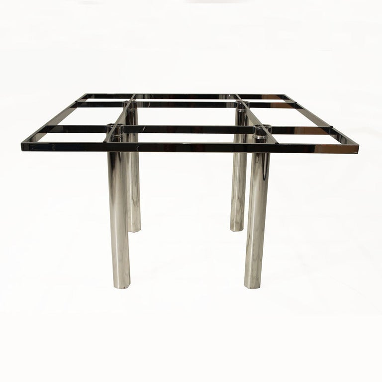 Knoll Andre Chrome And Glass Top Dining Table For Sale At 1st