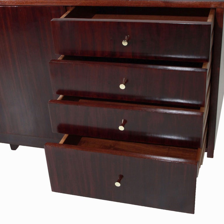 Dark Mahogany And Brass Cabinet Sideboard With Drawers For Sale At 1stdibs