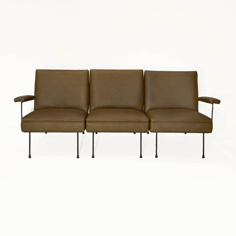Sectional Iron And Green Faux Leather Milo Baughman Sofa