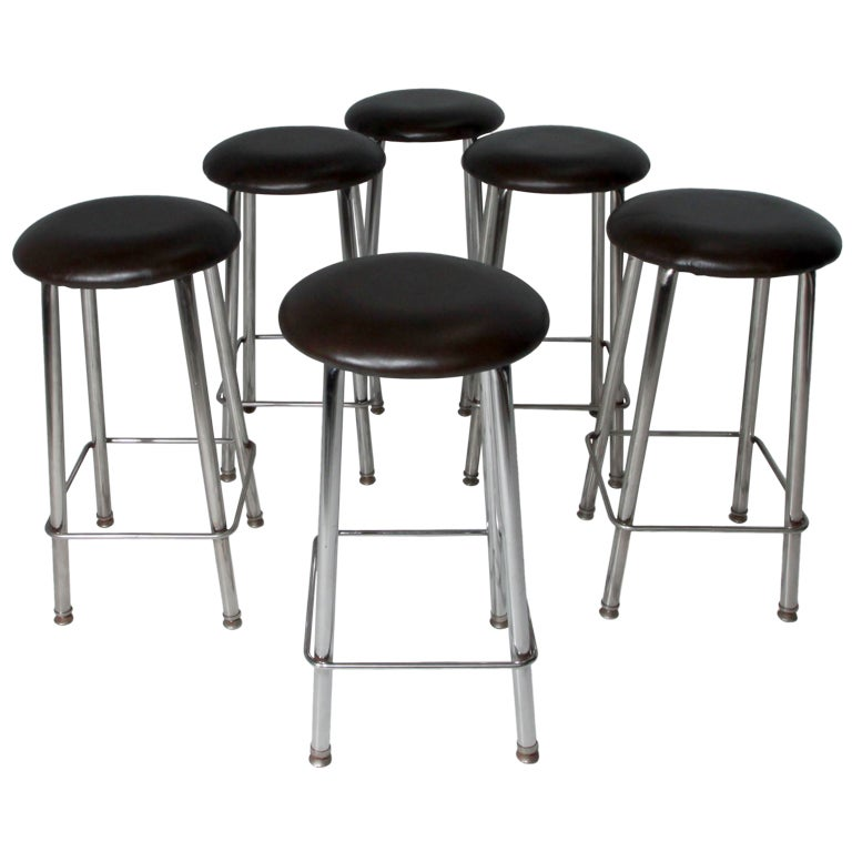 Set of Seven Chrome and Dark Brown Leather Button Stools