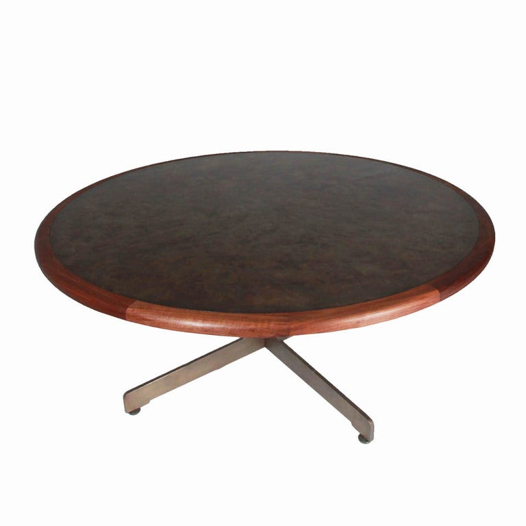 Massive Harry Lunstead Copper and Walnut Dining Table with  : Roundbronzetable03l from www.1stdibs.com size 768 x 768 jpeg 32kB