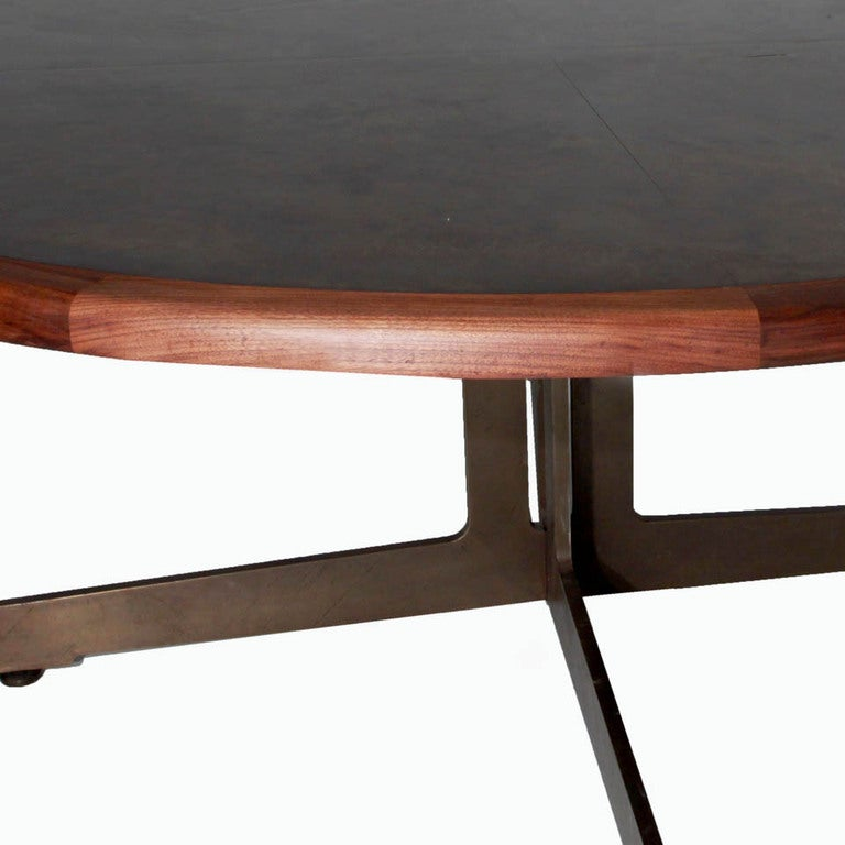 Massive Harry Lunstead Copper and Walnut Dining Table with  : Roundbronzetable06l from www.1stdibs.com size 768 x 768 jpeg 48kB