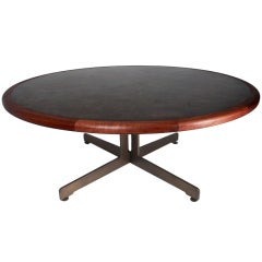 Massive Harry Lunstead Copper and Walnut Dining Table with Bronze Base