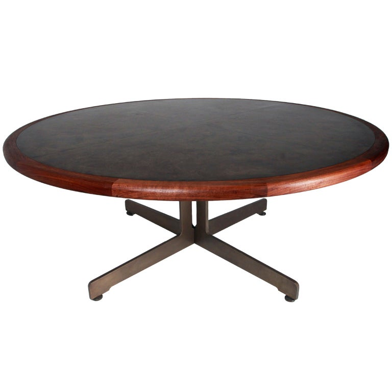 Massive Harry Lunstead Copper and Walnut Dining Table with  : XXXRoundbronzetopMI from www.1stdibs.com size 768 x 768 jpeg 31kB