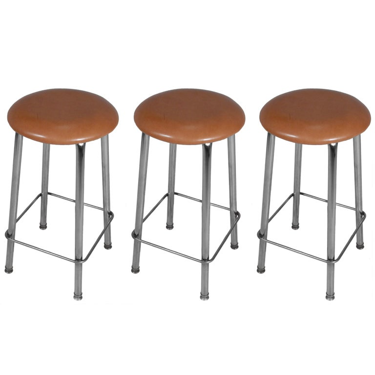 Set of Three Chrome and Tan Leather Button Stools