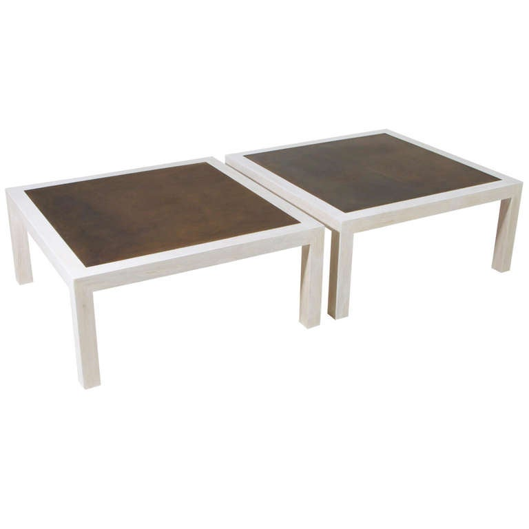 Mid-Century Modern Bronze and Bleached Oak Coffee Tables, by Harry Lunstead