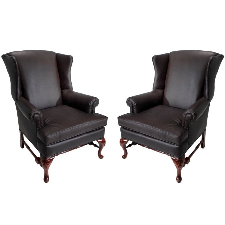 Pair of large winged armchairs for sale at 1stdibs for Oversized armchairs for sale