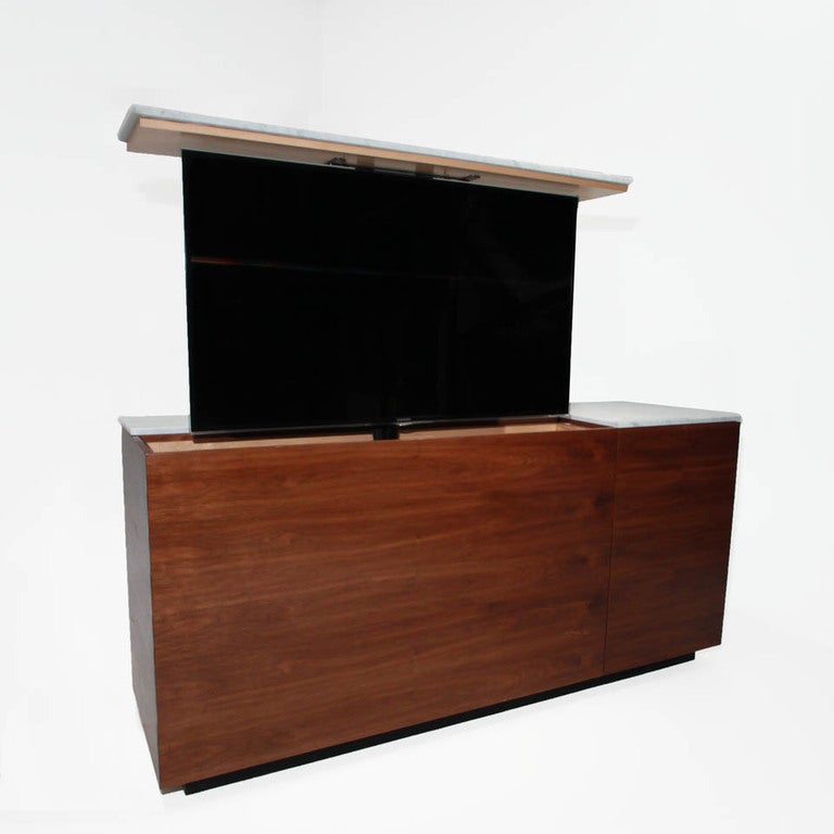 Custom walnut and white carrera marble tv cabinet for sale for A 1 custom cabinets