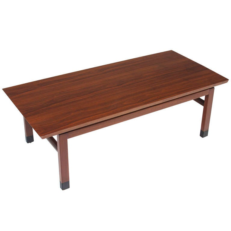 Rectangular Walnut Coffee Table With Leather Tipped Feet By Dunbar For Sale At 1stdibs