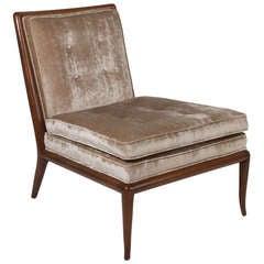 Single Silk Velvet & Mahogany Slipper Chair By T.H. Robsjohn Gibbings