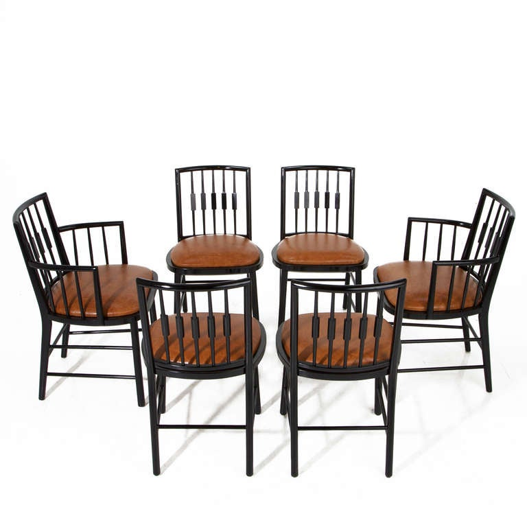 Set Of 6 Black Spindle Back Dining Chairs By Baker At 1stdibs