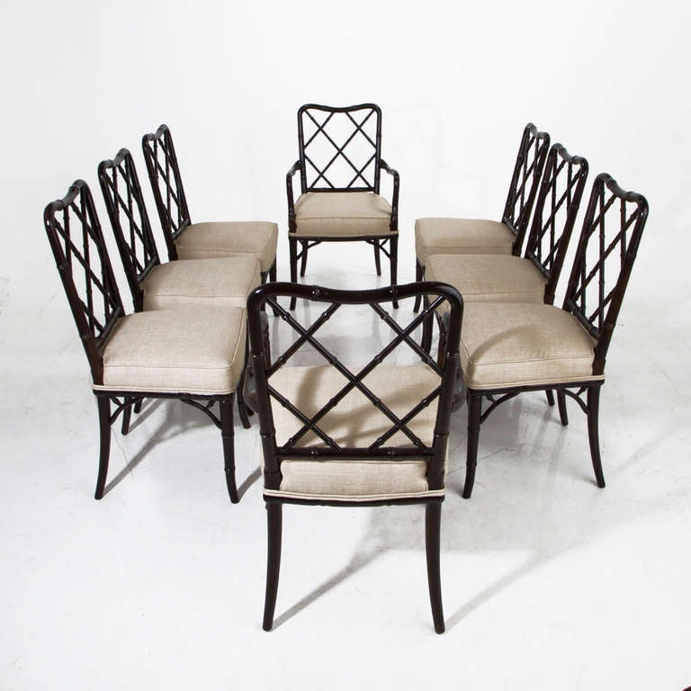 set of eight bamboo and linen dining chairs at 1stdibs