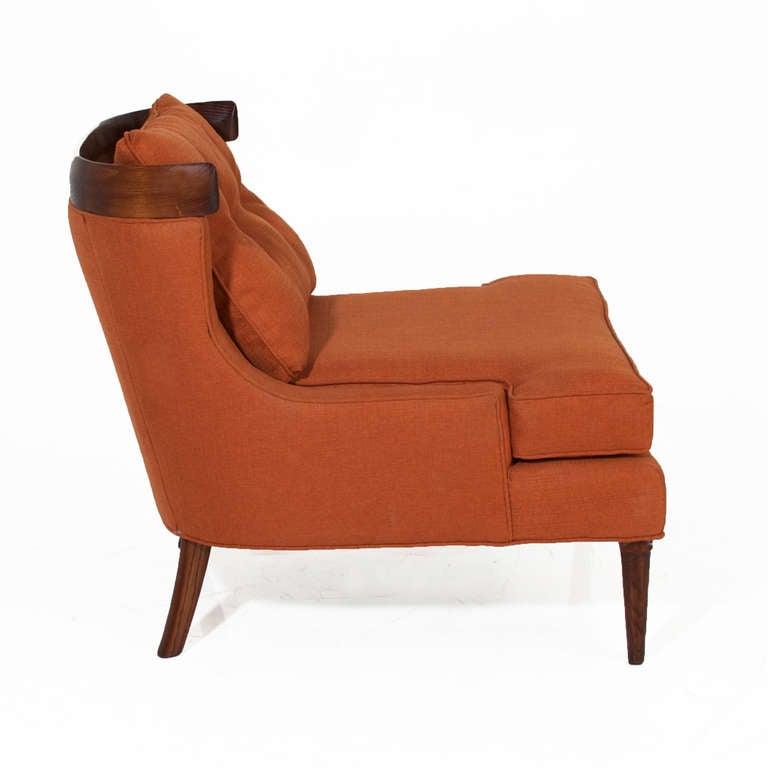 Pair Of Erwin Lambeth Lounge Chairs In Burnt Orange Linen At 1stdibs