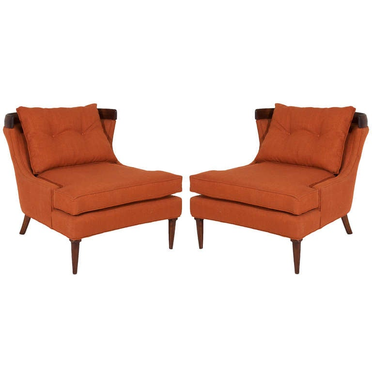 Pair of erwin lambeth lounge chairs in burnt orange linen for Burnt orange chaise lounge