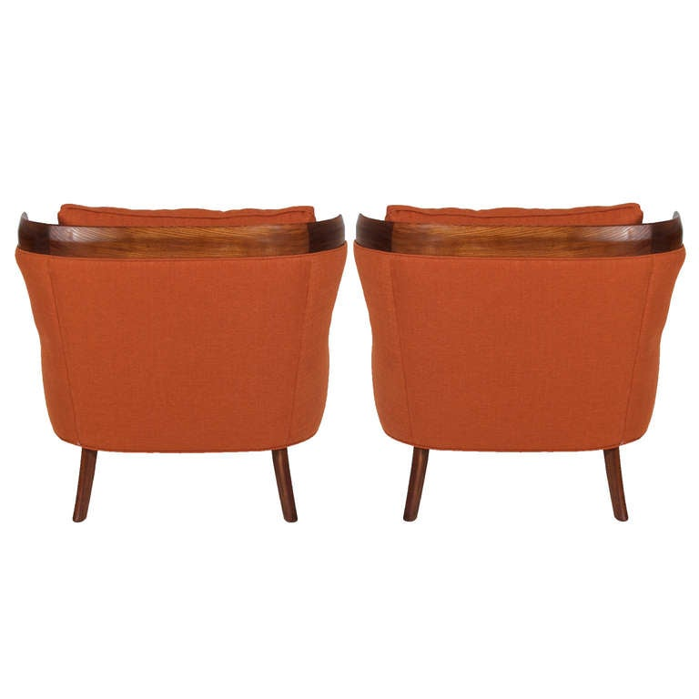 Pair Of Erwin Lambeth Lounge Chairs In Burnt Orange Linen Good Condition For