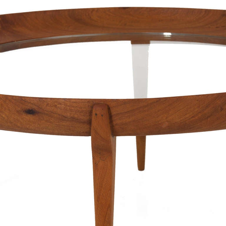 Solid Wood Curved Coffee Table: Round Solid Sculptural Caviuna Wood Coffee Table By