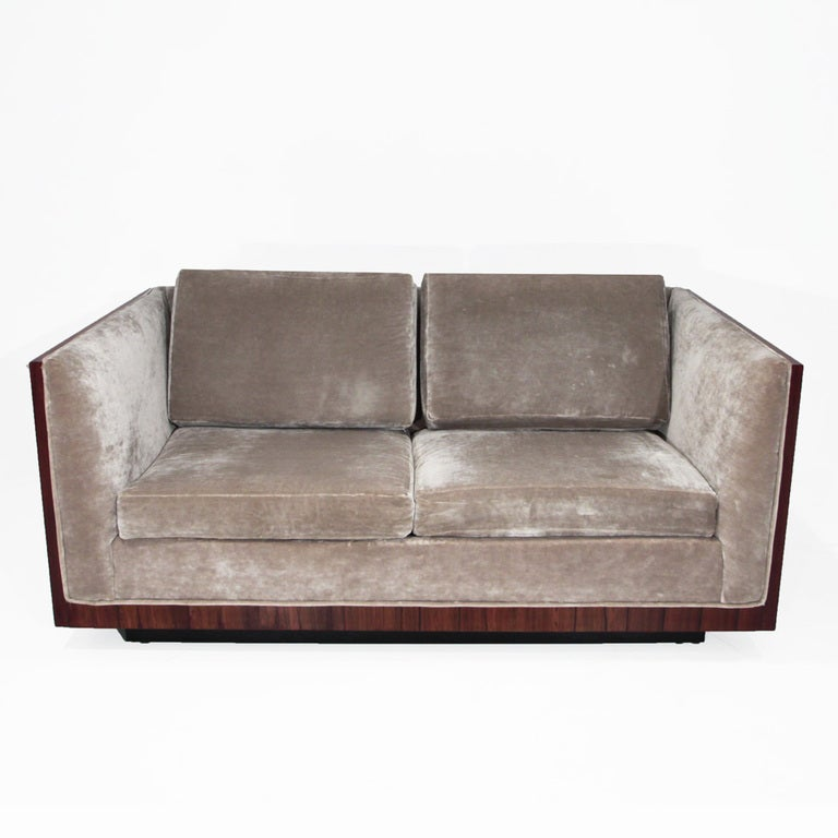 Milo Baughman silver velvet loveseat sofa with Rosewood case at