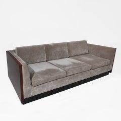 Milo Baughman sofa in silver velvet with Rosewood case