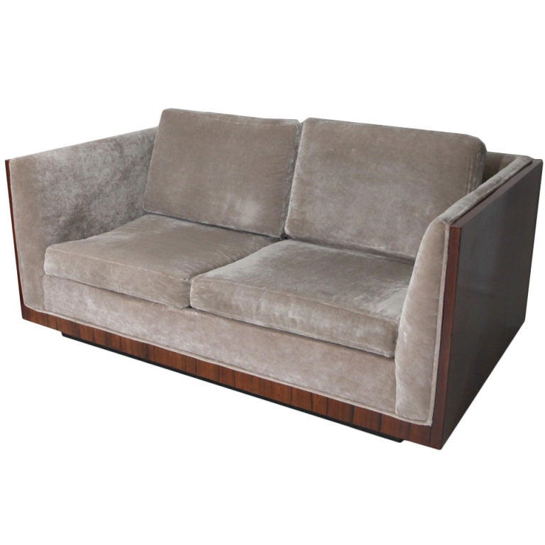 Milo Baughman Silver Velvet Loveseat Sofa With Rosewood Case At 1stdibs