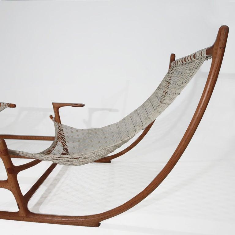 Rare 1970s American Craft Hammock Chair by William C. Leete. 5