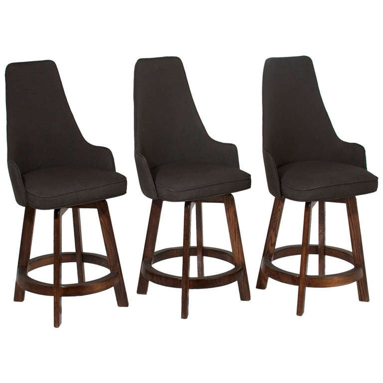 Three Vintage Swiveling High Back Bar Stools For Sale At