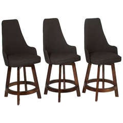 Three Vintage Swiveling High Back Bar Stools