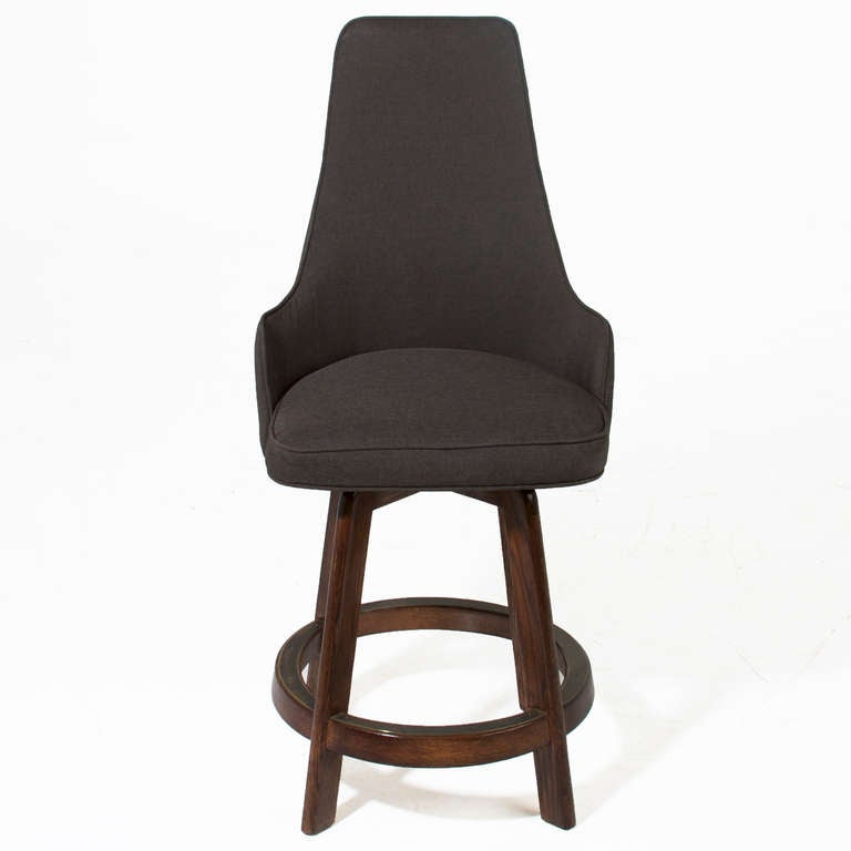 3 Vintage Swiveling High Back Bar Stools At 1stdibs
