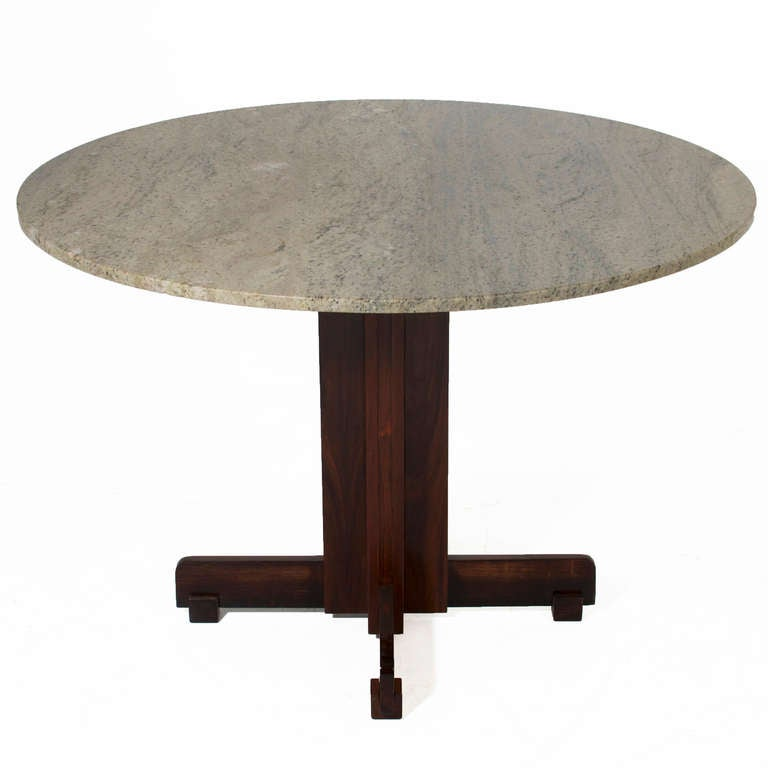 Brazilian Rosewood Dining Table With Round Granite Top At 1stdibs