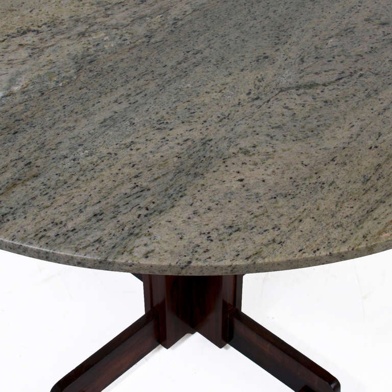 Granite Round Dining Table: Brazilian Rosewood Dining Table With Round Granite Top At
