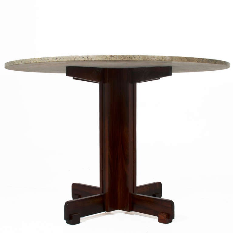 Brazilian Rosewood Dining Table with Round Granite Top at  : greenmarble7l from www.1stdibs.com size 768 x 768 jpeg 21kB