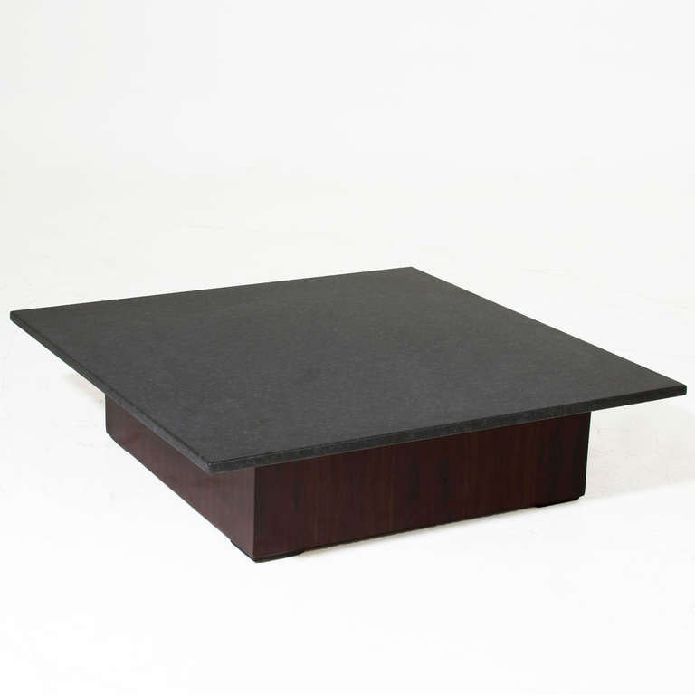 Square Rosewood and Black Granite Coffee Table For Sale at 1stdibs