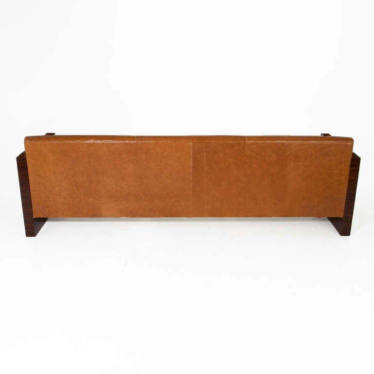 Milo Baughman Rosewood Side Sofa With Caramel Leather Upholstery In Good Condition For Sale In Hollywood, CA