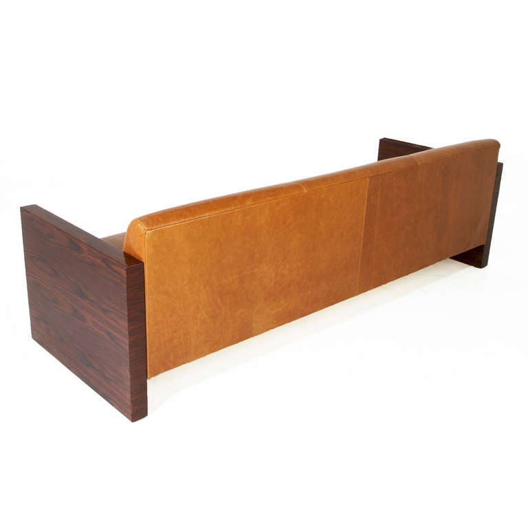 Mid-20th Century Milo Baughman Rosewood Side Sofa With Caramel Leather Upholstery