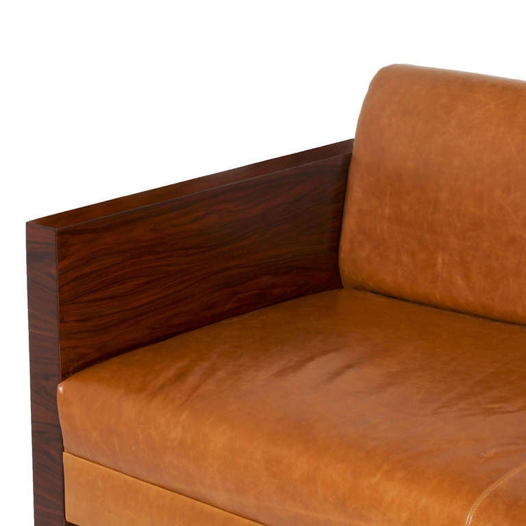 Milo Baughman Rosewood Side Sofa With Caramel Leather Upholstery 2