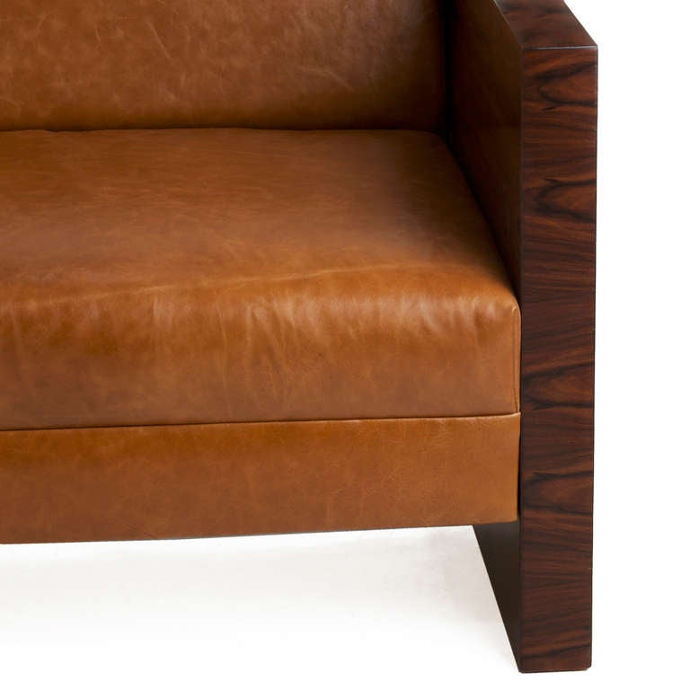 Milo Baughman Rosewood Side Sofa With Caramel Leather Upholstery 3