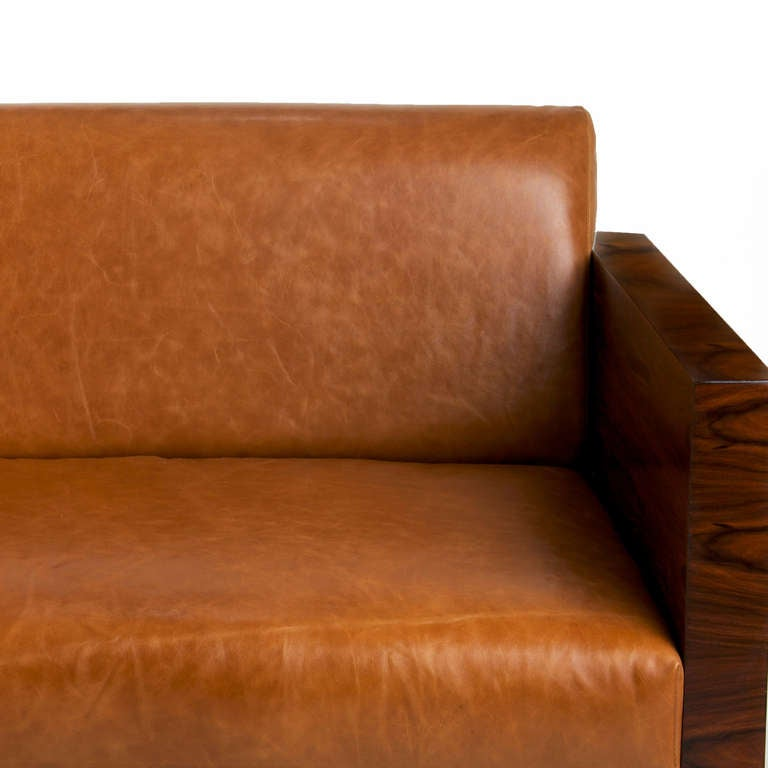 Milo Baughman Rosewood Side Sofa With Caramel Leather Upholstery 4