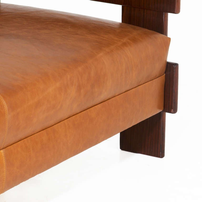Percival Lafer Rosewood And Distressed Tufted Yellow: Brazilian Rosewood And Caramel Leather Sofa By Celina For