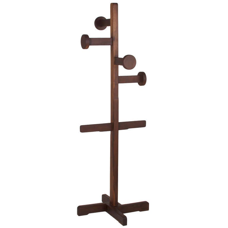 Vintage Brazilian Solid Itauba Wood Hat Stand Or Coat Rack At 1stdibs