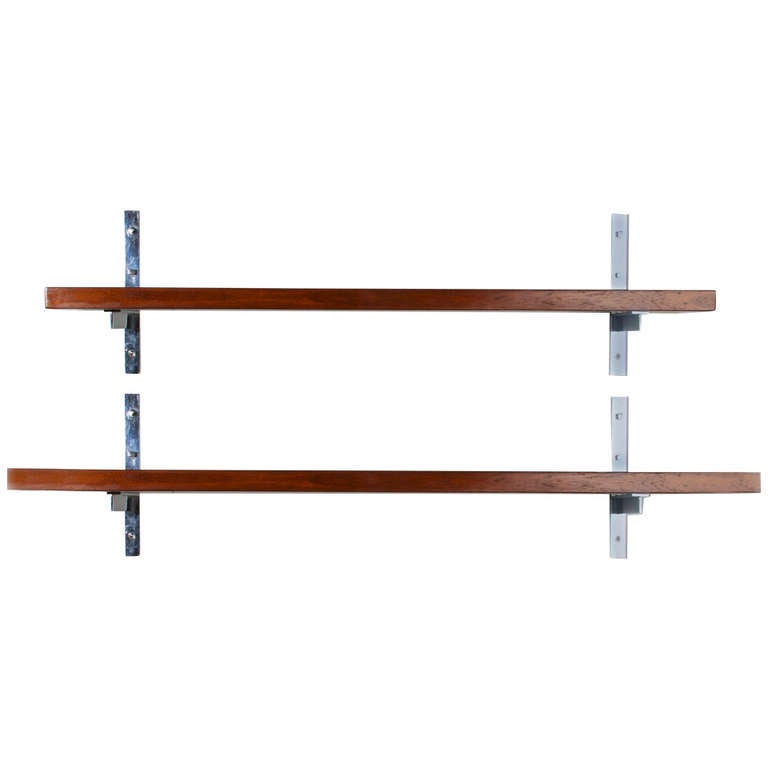 Pair of large rare Freijo wood wall mounted shelves by Sergio Rodrigues