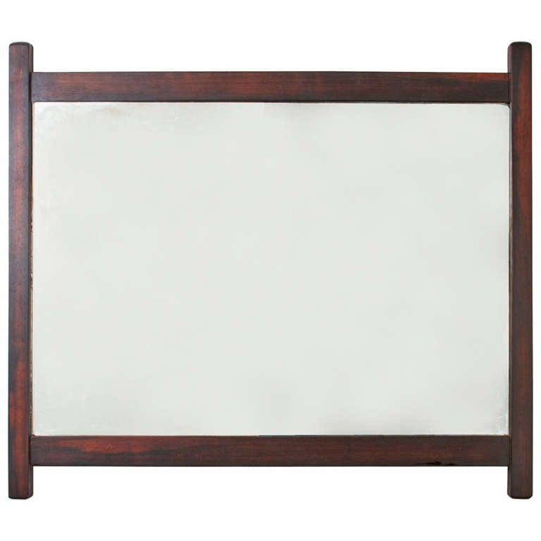 Sergio Rodrigues Midcentury Exotic Hardwood Mirror with Brass Accents