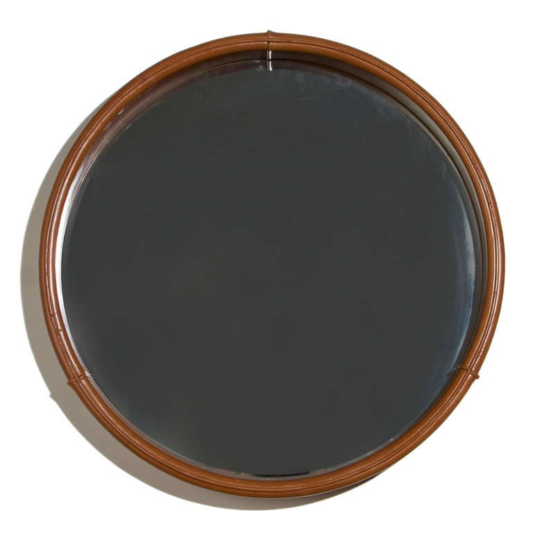 round leather mirror freijo wood shelf from brazil by. Black Bedroom Furniture Sets. Home Design Ideas
