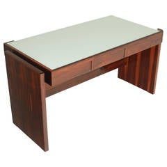 Rosewood and White Glass Desk by Joaquim Tenreiro