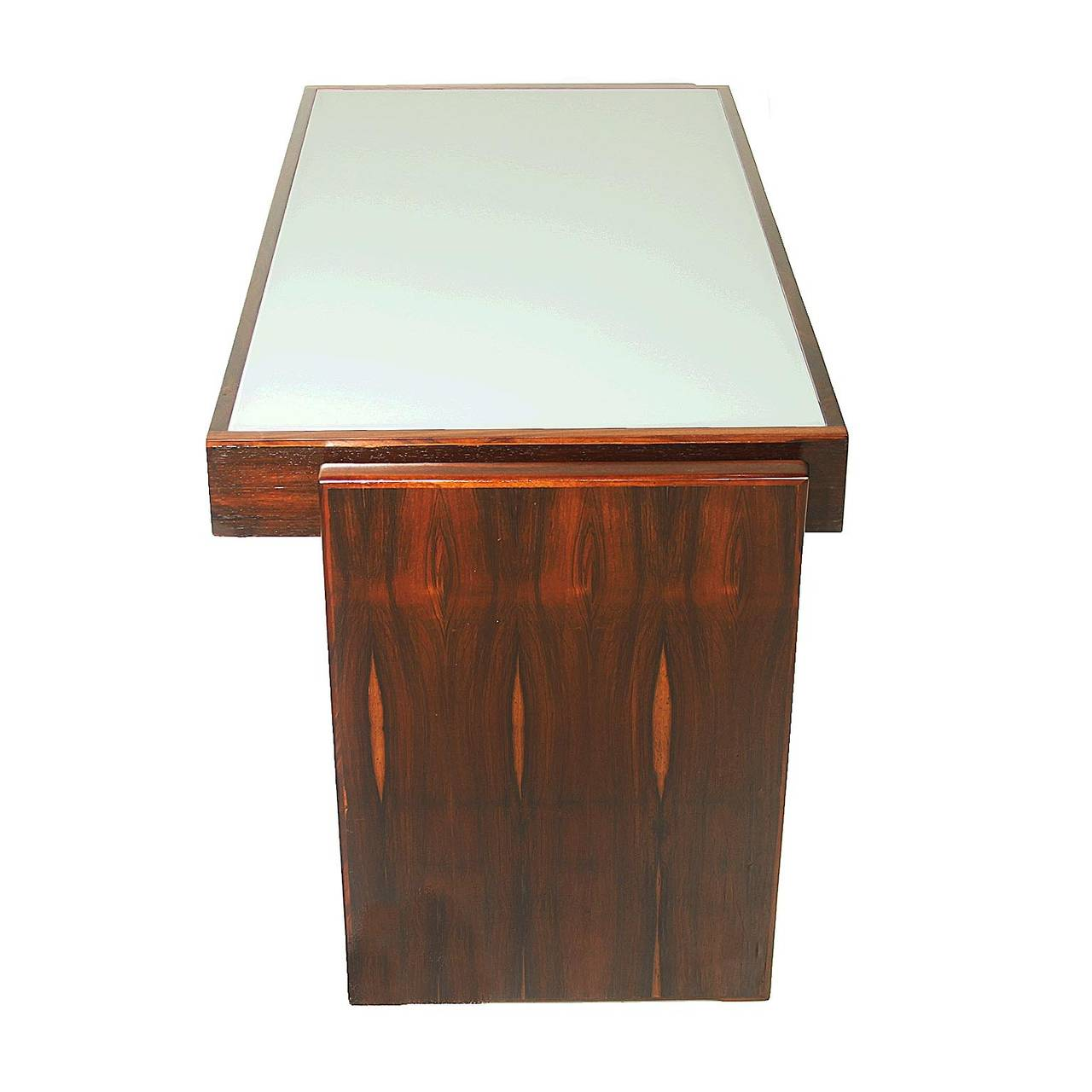 "Mid-Century Modern Joaquim Tenreiro ""Bloch"" Desk with Reverse Painted Glass For Sale"