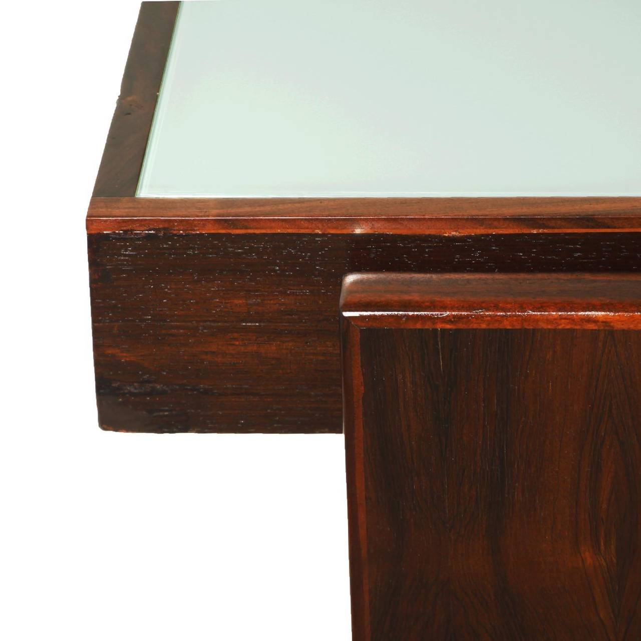 "Brazilian Joaquim Tenreiro ""Bloch"" Desk with Reverse Painted Glass For Sale"