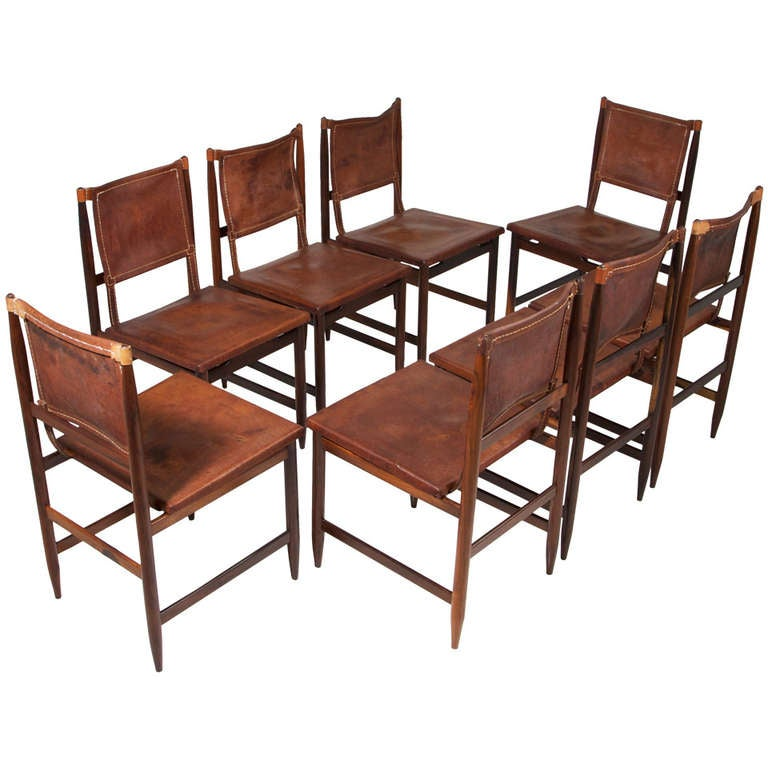 Set Of 8 Brazilian Leather And Rosewood Dining Chairs At