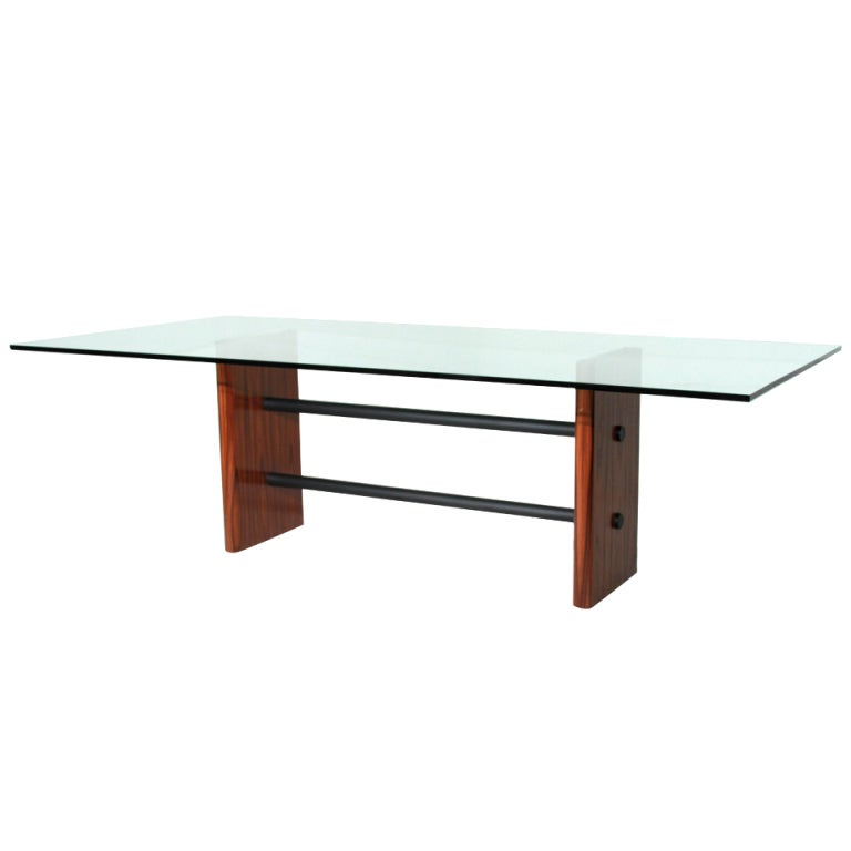 Rosewood and Solid Metal Double-Stretcher Table with Glass Top